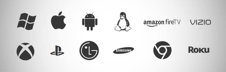 Artikelbild für Mit welchen Clients kann man auf Plex Hardware zugreifen? das verschiedene Logos kompatibler Geräte zeigt