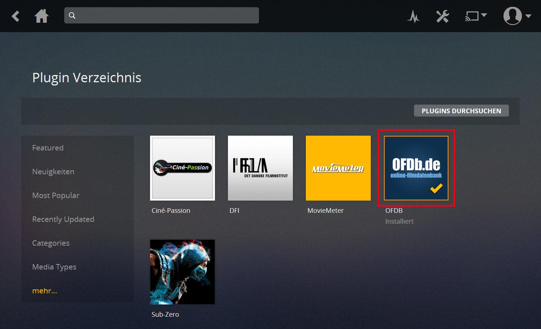 """Plex Anleitung Screenshot Schritt 1d, der neu zu installierenden Meta Agent """"OFDb"""" zeigt und wohin geklickt werden muss"""