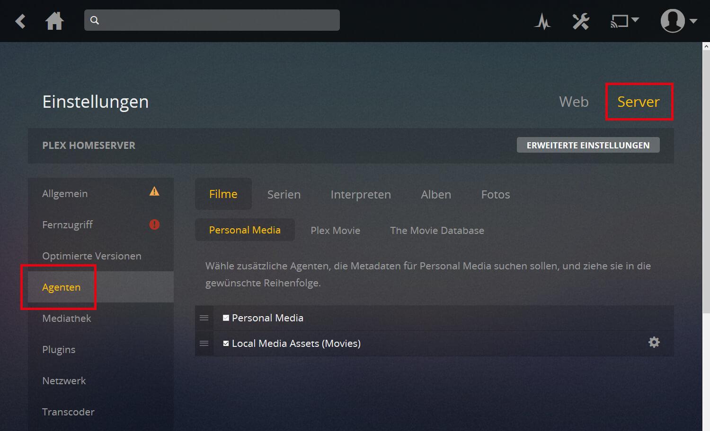 Plex Anleitung Screenshot Schritt 2b, der Agentenübersicht zeigt und wohin geklickt werden muss
