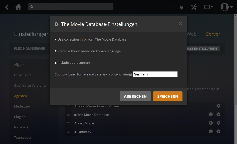 Plex Anleitung Screenshot Schritt 3b, der The-Movie-Database-Einstellungen zeigt und wohin geklickt werden muss