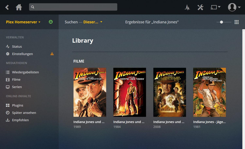 Plex Anleitung Screenshot der die Plex Bibliothek zeigt, fertig optimiert für deutsche Filmtitel