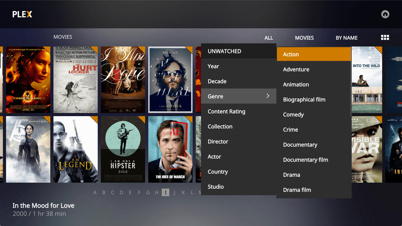 Screenshot des Plex Media Player Apple TV 4 - Filter