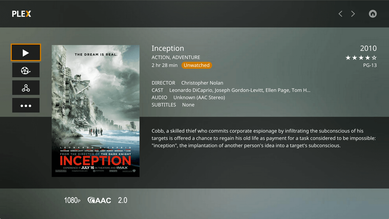 Screenshot Plex für Apple TV 4 - Movie Preplay